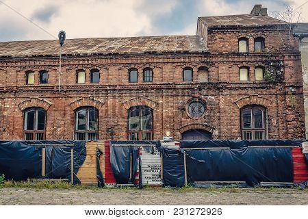 Gora Kalwaria, Poland - June 24, 2017: Ruined Synagogue Of Tzaddik Yitzchak Meir Alter In Gora Kalwa