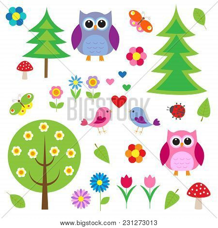 Birds,tress And Owls. Vector Set, Vector Illustration