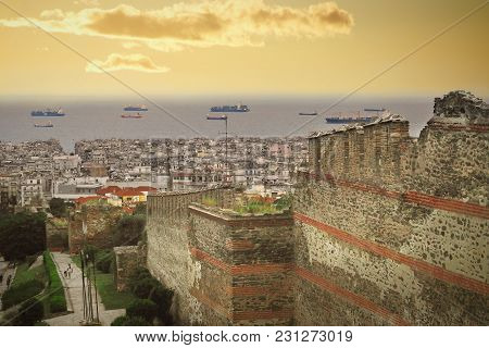 A Beautiful View Of Thessaloniki From The Trigonion Tower