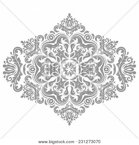 Oriental Silver Pattern With Arabesques And Floral Elements. Traditional Classic Ornament. Vintage P