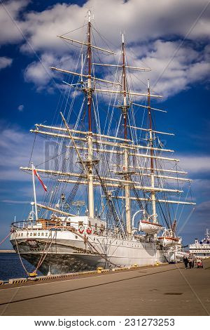 Gdynia, Poland - May 15, 2017: Gift Of Pomerania - Sailing Museum Ship In Gdynia Port Over Baltic Se