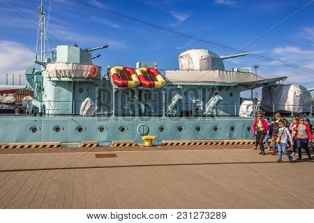Gdynia, Poland - May 15, 2017: Children In Front Of Orp Blyskawica Destroyer Ship Preserved As A Mus