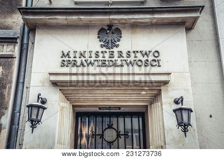 Warsaw, Poland - February 6, 2018: Side Entrance To The Building Of Polish Ministry Of Justice In Wa