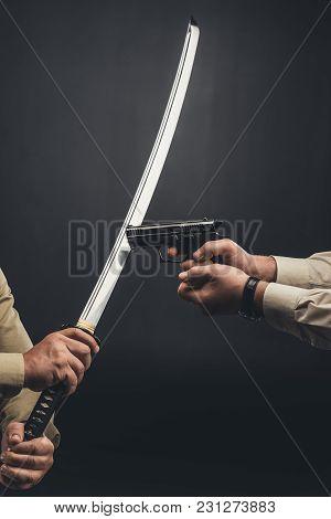 Yakuza Members Fighting With Gun And Katana Sword On Black