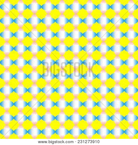 Abstract Colorful Ellipse Shapes Pattern Of Gradient Blue And Pink On Yellow Background. Vector Illu
