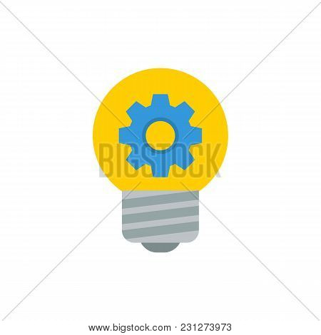 Creativity Icon Flat Symbol. Isolated Vector Illustration Of Bulb Light Sign Concept For Your Web Si