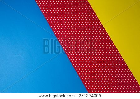 Abstract Geometric Blue, Yellow And Red Polka Dot Paper Banner Background