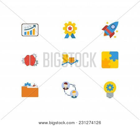 Technology Cooperation Icons Set With Financial Growth, Finance And Startup Elements. Set Of Technol
