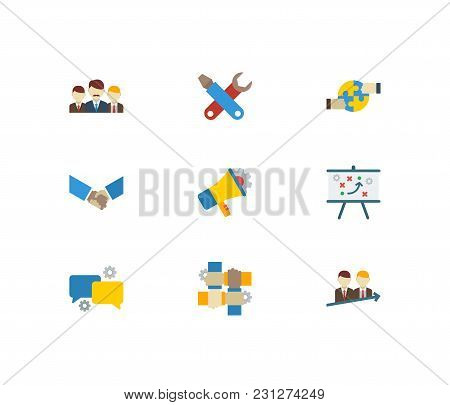 Technology Cooperation Icons Set With Partnership, Handshake, Marketing Elements. Set Of Technology