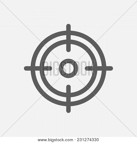 Core Values: Focus Icon Line Symbol. Isolated Vector Illustration On Company Values Sniper  Sign Con