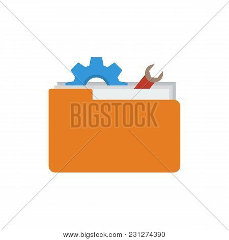 Technical Project Icon Flat Symbol. Isolated Vector Illustration Of Toolkit Sign Concept For Your We