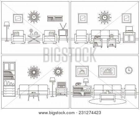 Retro Room Interior. Vector. Linear Living Room Set. Flat Design Furniture Sofa, Couch, Armchair, Tv
