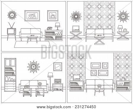 Room Interior. Vector. Living Room Linear Set. Retro Thin Line Home Space With Furniture, House Equi