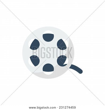 Cinema Reel Icon Flat Symbol. Isolated Vector Illustration Of Tape Sign Concept For Your Web Site Mo