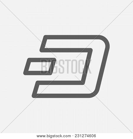 Dash Icon Line Symbol. Isolated Vector Illustration Of Crypto Currency Sign Concept For Your Web Sit