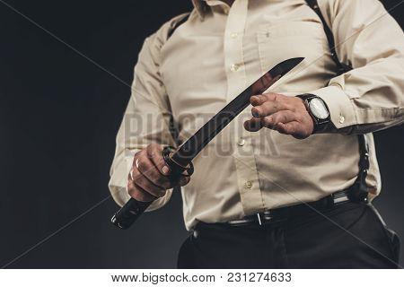 Cropped Shot Of Yakuza Member With Japanese Tanto Knife