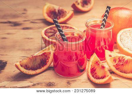 Blood Orange Juice. Red Orange Juice With Orange Slice