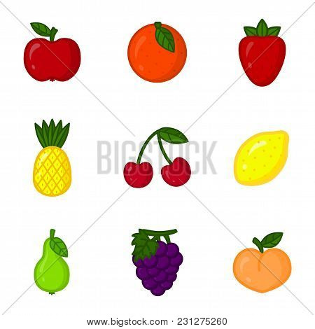 Vector Set Of Cartoon Fruit Icons. Apple, Orange, Strawberry, Pineapple, Cherry, Lemon, Pear, Grape,