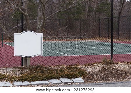Public Tennis Court And Around Court View Form Inside Fence. Mock Up For Sign.