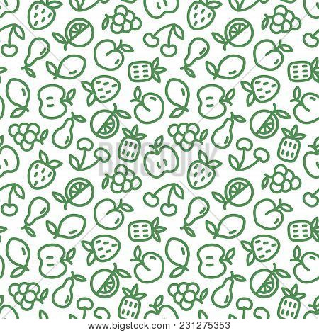 Seamless Pattern With Green Fruits On White Background. Eco Design With Thin Line Fruit Icons For Su