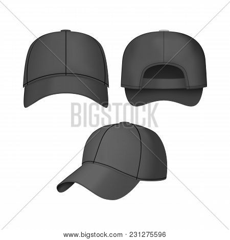 Realistic 3d Black Baseball Cap Set Back Front And Side Views On Light Background. Vector Illustrati