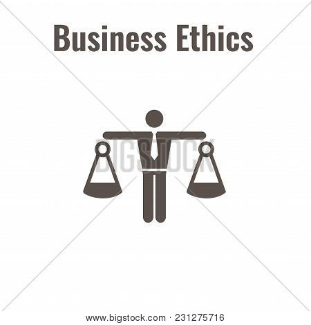 Business Ethics Solid Icon With Man & Scales Of Justice