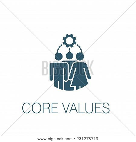 Core Values Solid Icon W Person & Collaborating / Thinking Ideas