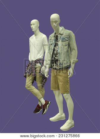 Two Full-length Male Mannequins Dressed In Casual Clothes, Isolated. No Brand Names Or Copyright Obj
