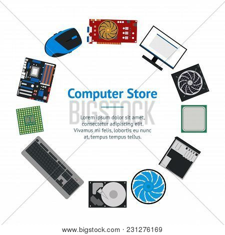 Cartoon Pc Components For Computer Store Banner Card Circle Technology Concept Flat Design Style Inc