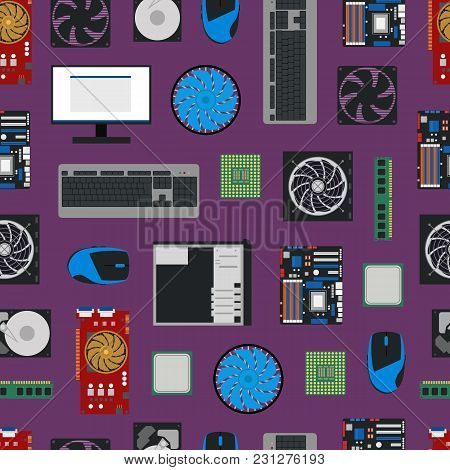 Cartoon Pc Components Seamless Pattern Background Technology Concept Flat Design Style Include Of Mo