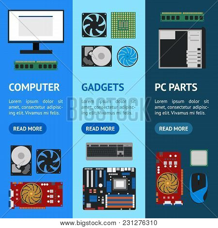 Cartoon Pc Components Banner Vecrtical Set Technology Concept Flat Design Style Include Of Monitor,