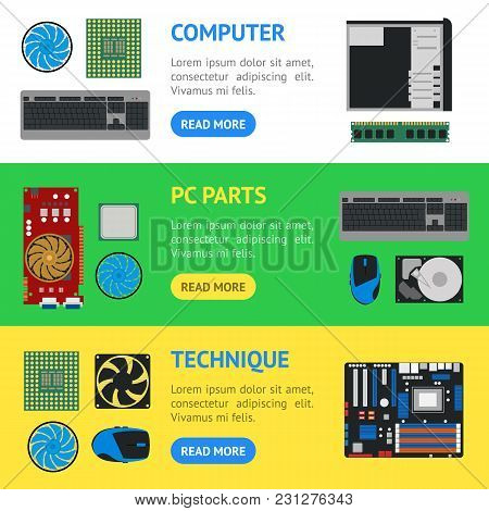 Cartoon Pc Components Banner Horizontal Set Technology Concept Flat Design Style Include Of Monitor,