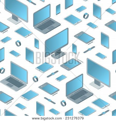 Technology Devices Seamless Pattern Background On A White Isometric View Electronic Equipment Gadget