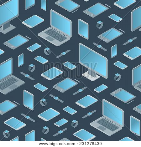 Technology Devices Seamless Pattern Background Isometric View Electronic Equipment Gadgets And Pc Mo