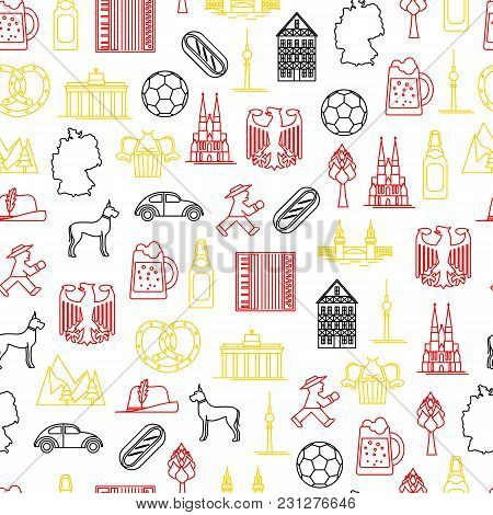 Symbol Of Germany Thin Line Seamless Pattern Background Style Design Element Travel Business. Vector