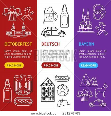 Symbol Of Germany Thin Line Banner Vecrtical Set Style Design Element Travel Business. Vector Illust