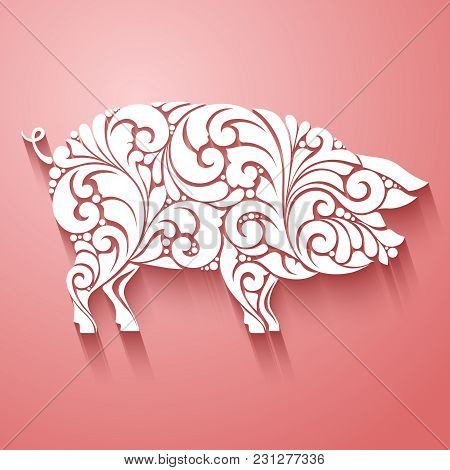 Ornamental Decorative Pig Silhouette Design Decorative Swirls Curls Elements Pattern. Logo Template