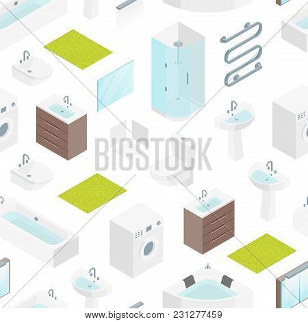 Furniture Bathroom Interior Seamless Pattern Background On A White For Apartment, Shop Or Hotel Isom