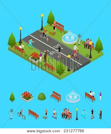 Park Activity In City And Elements Part Recreational Scene For Summer Leisure People And Sports Isom
