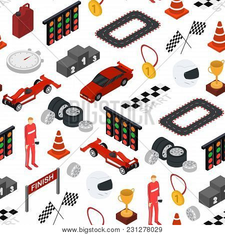 Racing Sport Seamless Pattern Background On A White Isometric View Element Web Design For Competitio