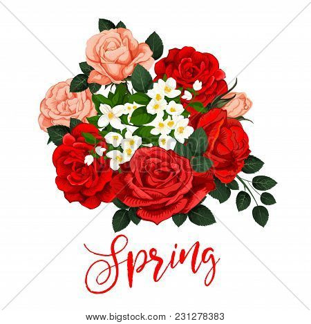 Springtime Rose Flowers Bunch And Lily Blossom Icon For Spring Time Holiday Season Quote Or Wish Gre