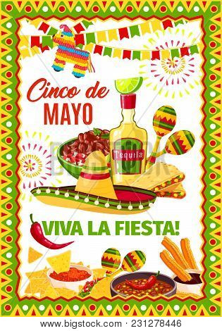 Cinco De Mayo Mexican Party Or Mexico Traditional Holiday Fiesta Greeting Card. Vector Design Of Mex