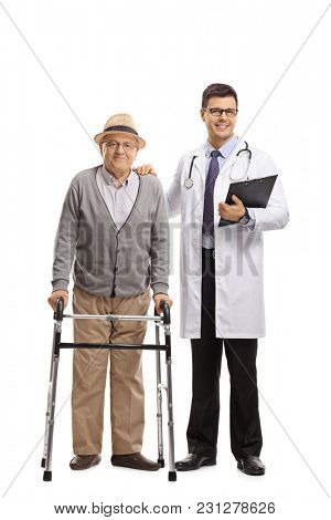 Full length portrait of an elderly patient with a walker and a doctor isolated on white background