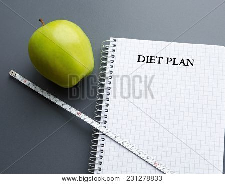 Blank Notebook Paper Sheet With Diet Plan And Two Green Apples With Copy Space, Healthy Food Concept