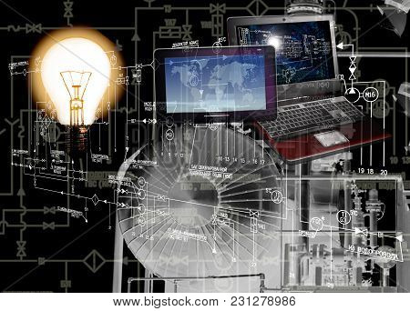 The Engineering Power Computer Technology.energy Designing.industrial Power