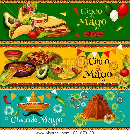 Cinco De Mayo Mexican Party Banners For Holiday Fiesta. Vector Design Of Mexico Flag Balloons, Jalap