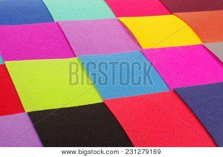 A Lot Of Colourful Felt Samples Useful For Textile Design