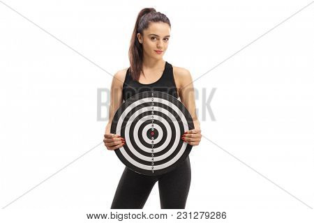 Fitness woman holding a target isolated on white background