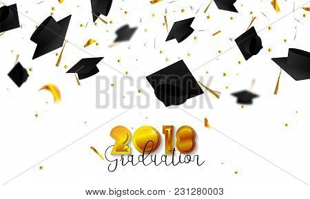 Graduate Caps And Confetti On A White Background. Caps Thrown Up