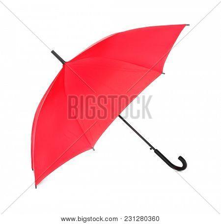 Stylish red umbrella on white background